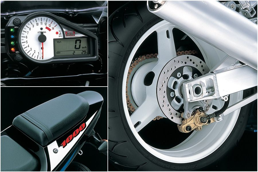 Suzuki GSX-R1000 K1 close up look at the clocks, seat and white wheels