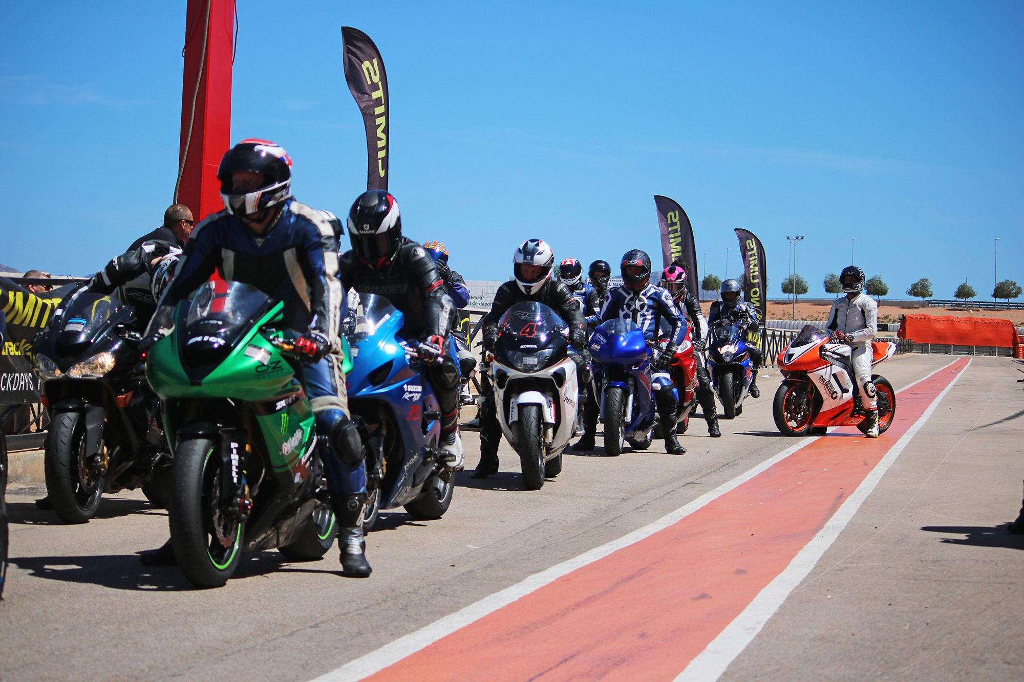 Bikes lining up for a trackday