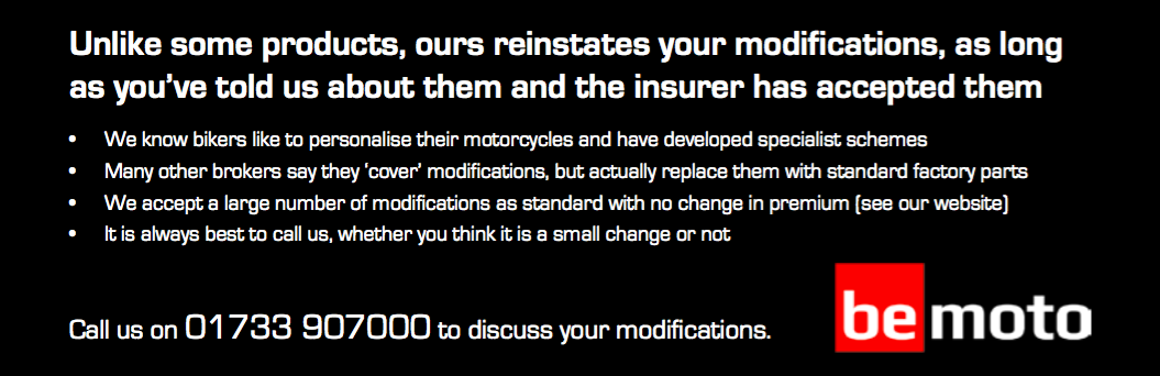 BeMoto Modified Motorbike Insurance Summary