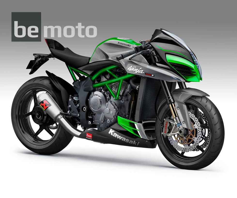 Kawasaki H2 Hyper Naked New Rendering For 2017 With Akrapovic