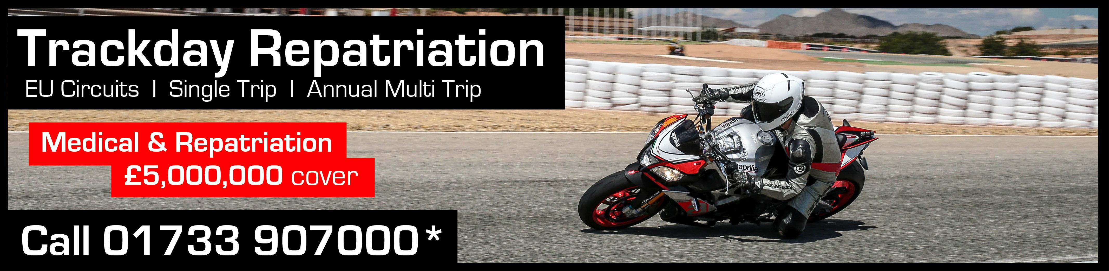 Motorcycle Trackday and Repatriation Insurance