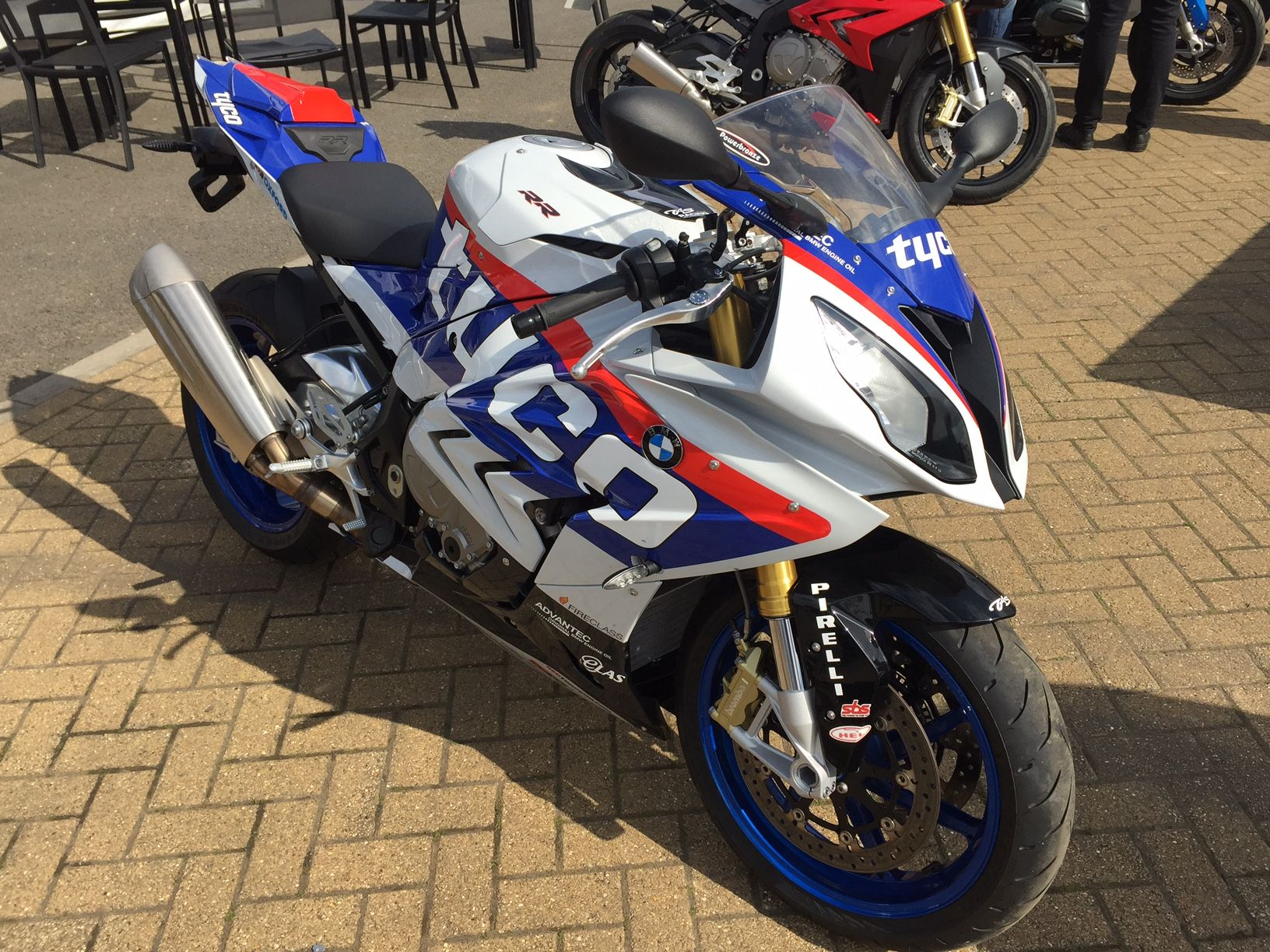 BMW S1000RR motorcycle with Tyco replica race paintwork